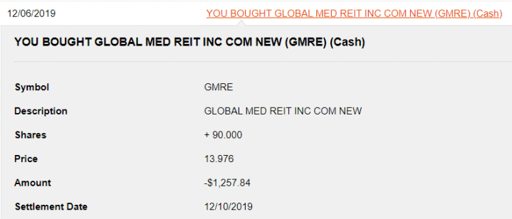 My 12/10/2019 purchase of Global Medical REIT Inc.