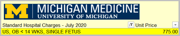 How much does an obstetric ultrasound cost at the University of Michigan? $775.00