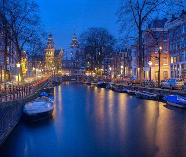 Amsterdam Night Canals Evening Wallpaper