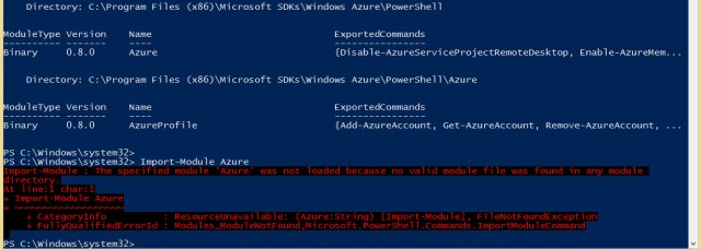 Import-Module Azure Error