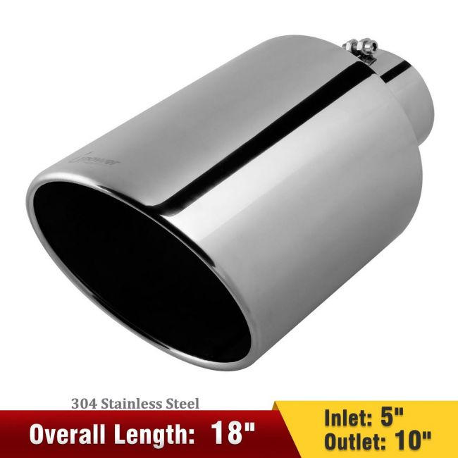 upower 5 inlet 10 outlet exhaust tip 5 to 10 inch 18 long diesel exhaust tailpipe tip stainless steel rolled edge bolt on diesel pipe universal for car truck