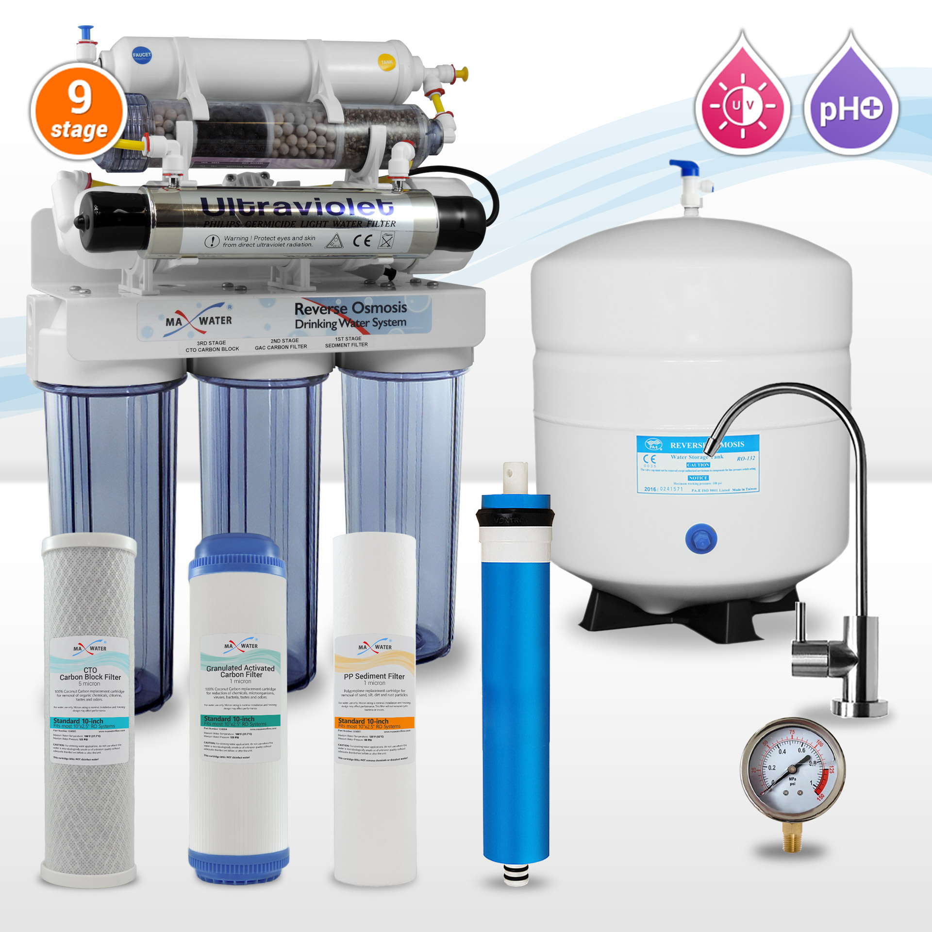 9 Stage Alkaline Reverse Osmosis System With Uv Sterilizer