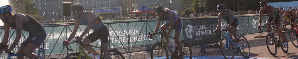 Elite Men on bikes at the World Triathlon Championships in Chicago