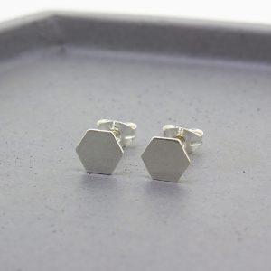 Hexagon Silver Stud Earrings