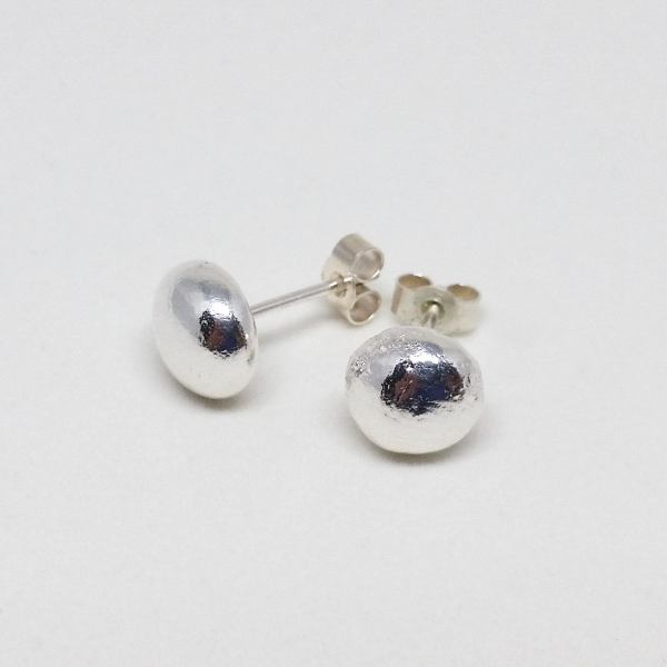 Polished Recycled Silver Pebble Stud Earrings