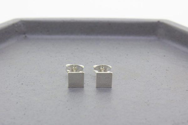 Square Silver Stud Earrings