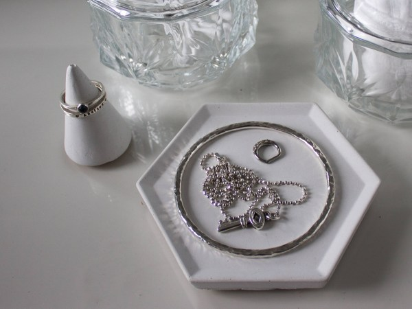 White Hexagon Concrete Trinket Dish
