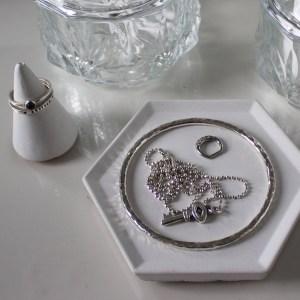 White Hexagon Concrete Trinket Dish