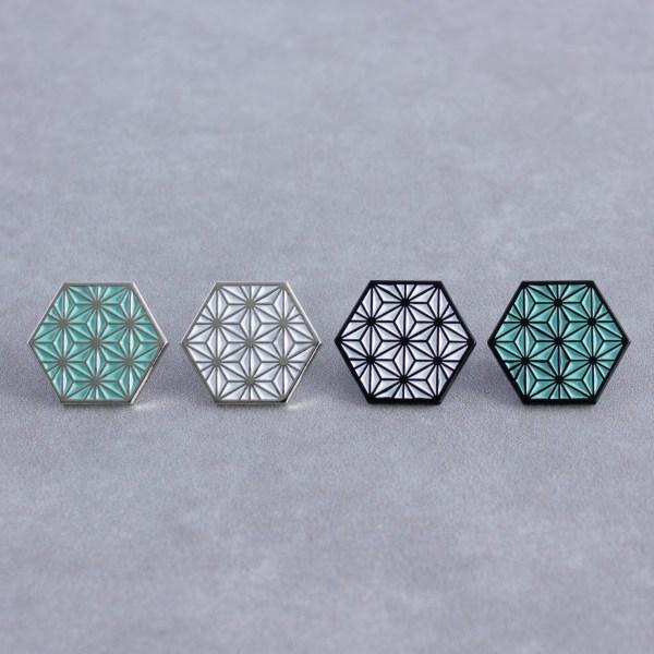 Asanoha Pattern Hexagonal Soft Enamel Pins Designed by Maxwell Harrison Jewellery