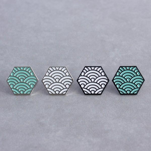 Seigaiha Pattern Hexagonal Soft Enamel Pins Designed By Maxwell Harrison Jewellery
