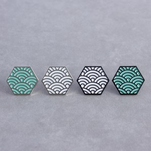 Seigaiha Pattern Hexagonal Soft Enamel Pins Designed By Maxwell Harrison Jewellery