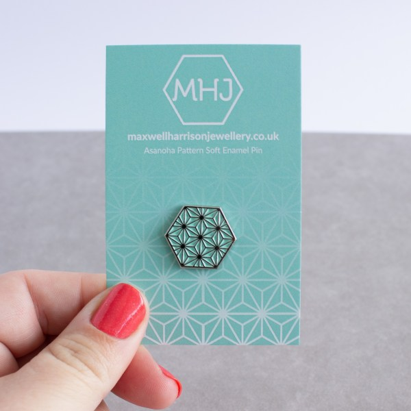 Asanoha pattern hexagonal soft enamel pin - silver and mint on backing card
