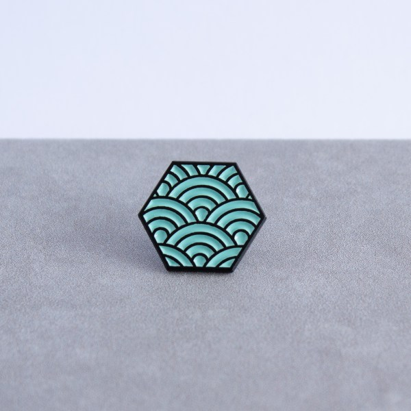 Seigaiha pattern hexagonal soft enamel pin - black and mint