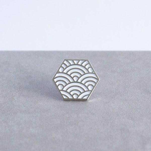 Seigaiha pattern hexagonal soft enamel pin - silver and white