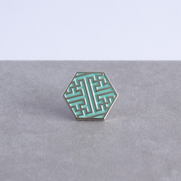 Sayagata pattern hexagonal soft enamel pin - silver and mint