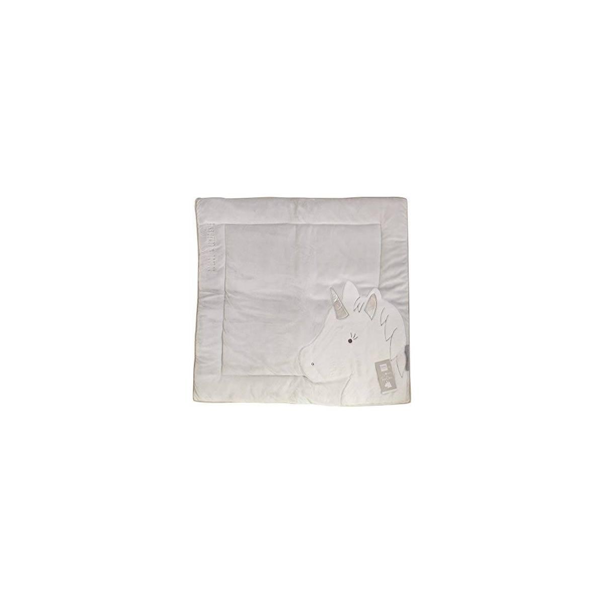 doudou et compagnie tapis de parc licorne gris argent tapidou