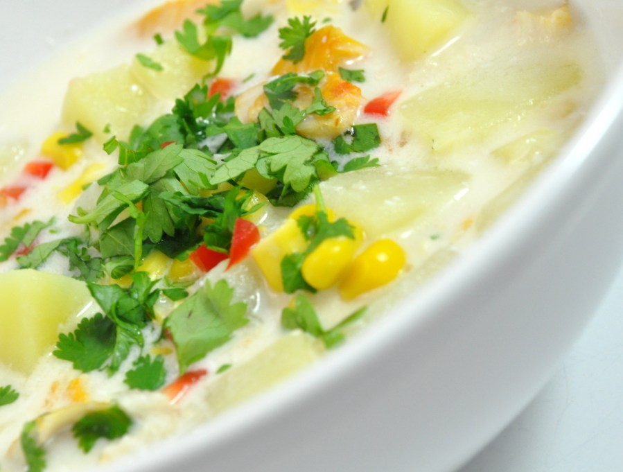 Lime and coconut chowder