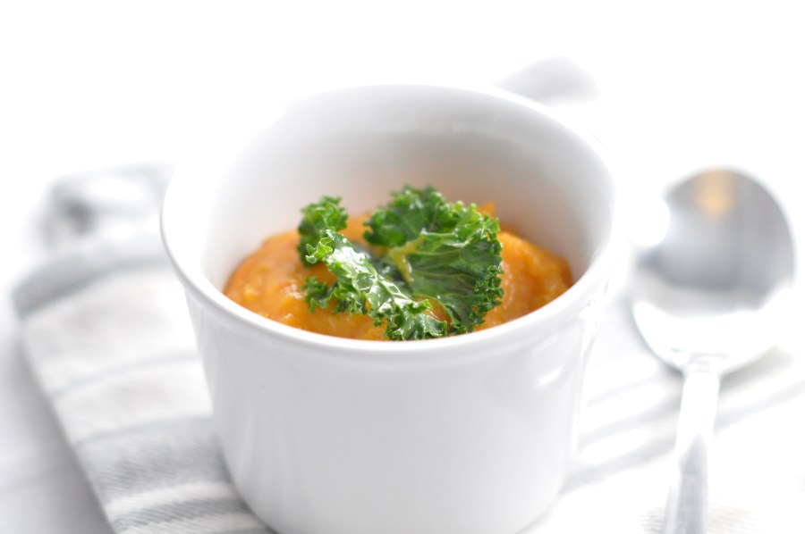 Baked butternut quash and garlic soup
