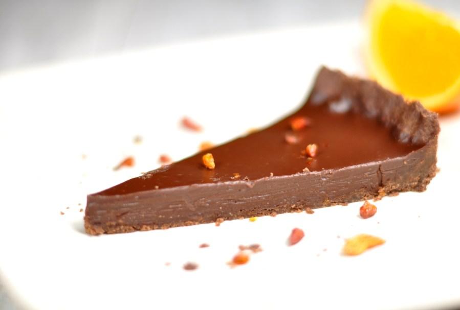 Chocolate tart with chili and orange