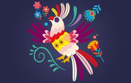 Affiche dia de muertos au Parrot world