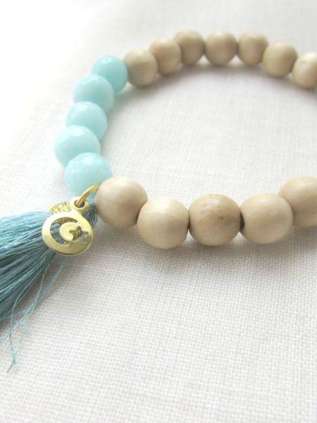 bracelet_naturel_natural_bois_perles_jade_mint_green_vert_d'eau_turquoise_pampille_étoile_croissant_Lune_may_boheme_hippie_chic