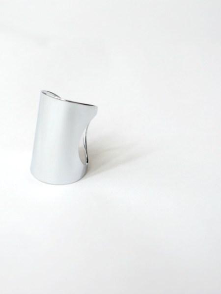 """Bague  WHITE LIGHT """"MAY MINIMALISTE"""" - Large anneau ajustable, doré à l'or fin blanc"""