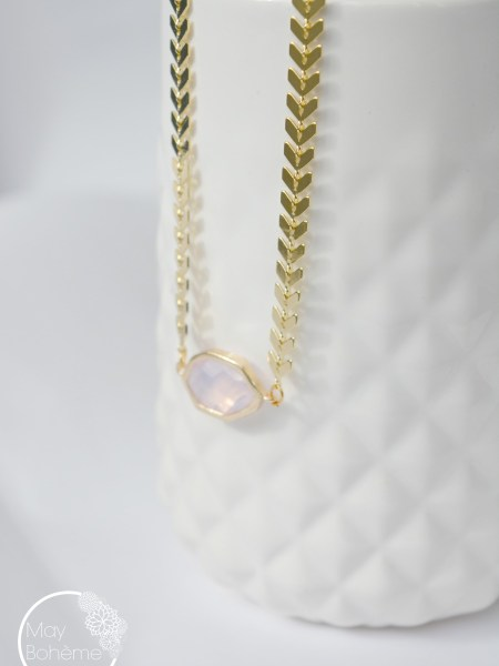 "COLLIER PINK ECLIPSE ""MAY MINIMALISTE"" - cristal rose, chaîne chevron plaqué or"