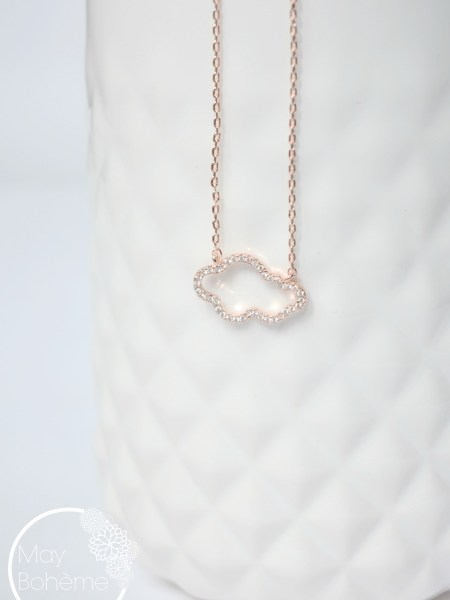 COLLIER NUAGE MAY MINIMALISTE - Nuage en plaqué or rose et zirconium