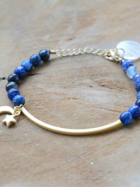 """BRACELET KES MOON """"GYSPET SPIRIT"""" - Bracelet pierre fine, croissant de lune"""