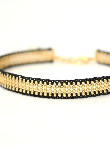 """Bracelet FAIROUZ """"Bohémienne Chic"""" - Bracelet plaqué or tissé"""