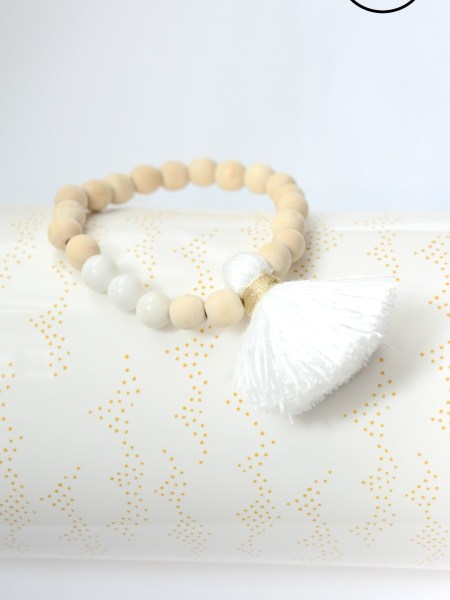 Bracelet Slimply Natural Wood - Bois naturel, pompon