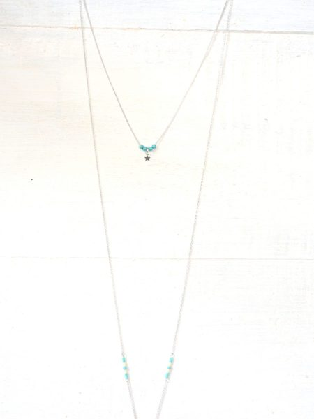 sautoir_double_chaine_perles_turquoise_etoile_croissant_lune_argent
