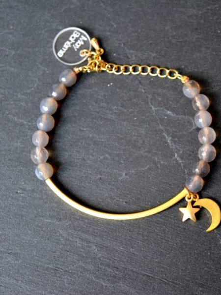 """BRACELET KESA MOON """"GYSPET SPIRIT"""" - Bracelet pierre fine, croissant de lune"""