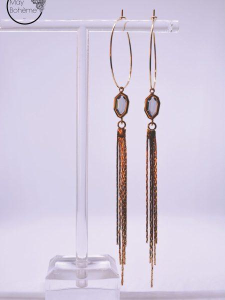 """Créoles pendants d'oreilles LIGHT ECLIPSE """"MAY MINIMALISTE"""" - cristal, pompon chaîne"""