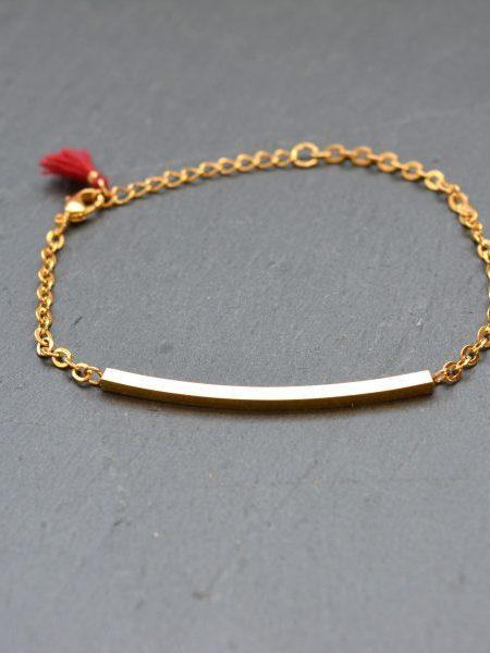 BRACELET MAY MINIMALISTE - barre fine doré à  l'or fin et petit pompon