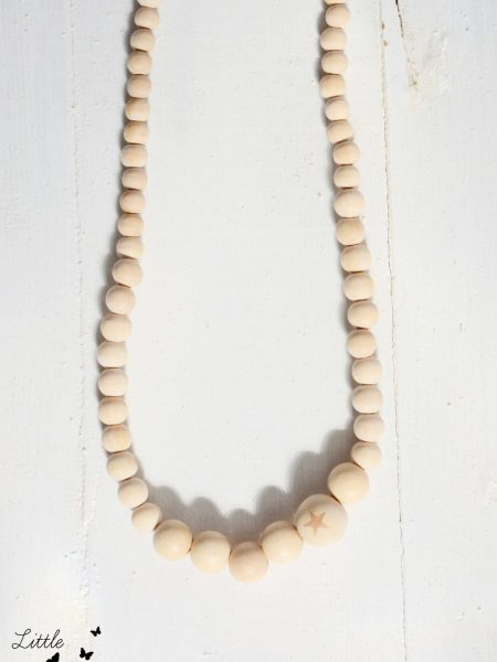 "Collier enfant LITTLE STAR  ""Little Manouche"" - Collier perles en bois naturel"