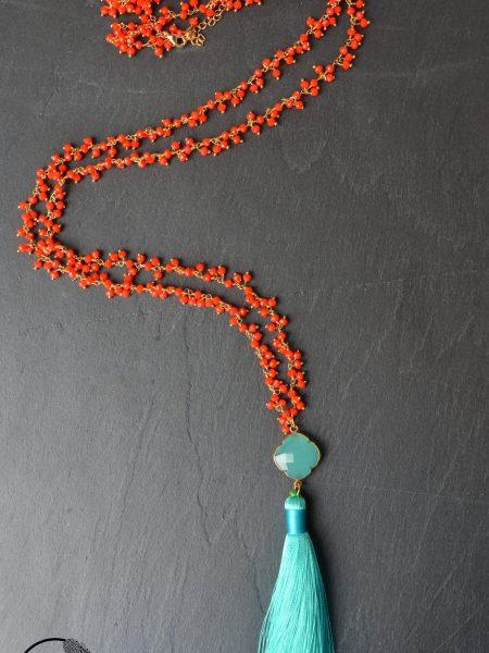 """Sautoir Pondichéry """"INDIAN MOOD"""" - Sautoir pierre fine rouge corail pendentif vert opaline"""
