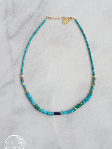 "Collier Sweet Indie ""INDIAN MOOD"" - Ras de cou Heishi pierre fine plaqué or"