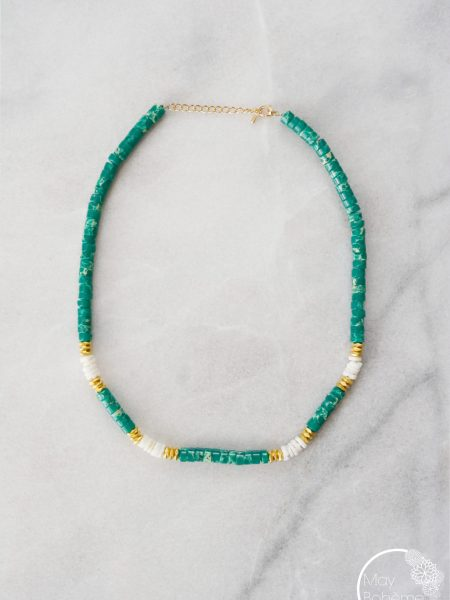 "Collier Love Indie ""INDIAN MOOD"" - Ras de cou Heishi pierre fine plaqué or"