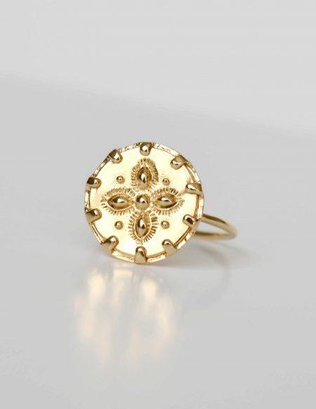 """Bague Rosa """"Bohemian Mood"""" - bague Médaille Chevalière Fleur plaqué or"""