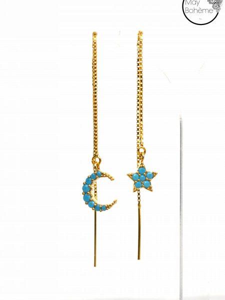 """Boucles d'oreilles Céleste """"Bohemian Mood"""" - Pendants chaînes Etoile Croissant Lune Turquoise"""
