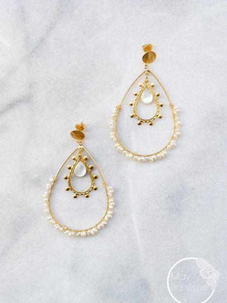 """Boucles d'oreilles Zanzibar """"INDIAN MOOD"""" - Créoles double gouttes nacre et perles d'eau douce"""