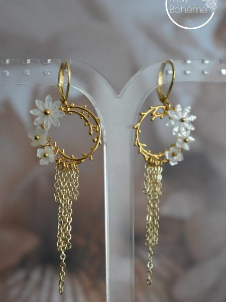 """Boucles d'oreilles Margot Blossom """"Art Bucolique"""" - Créoles gouttes fleur nacre pendants chainettes"""