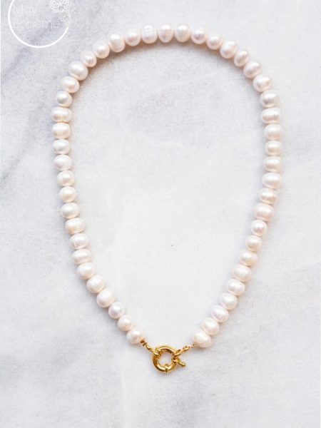"Collier  Milena  ""Bohemian mood"" - Collier choker perles d'eau douce fermoir rond"