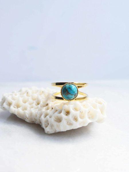 "BAGUE LOUISA ""Bohemian Mood"" - Bague ajustable pierre turquoise ajustable"