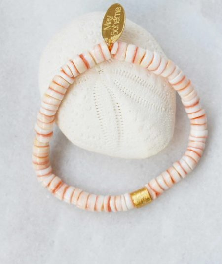 Bracelet Sunny Natural - Perles Heishi rosé coquillage, cylindre plaqué or