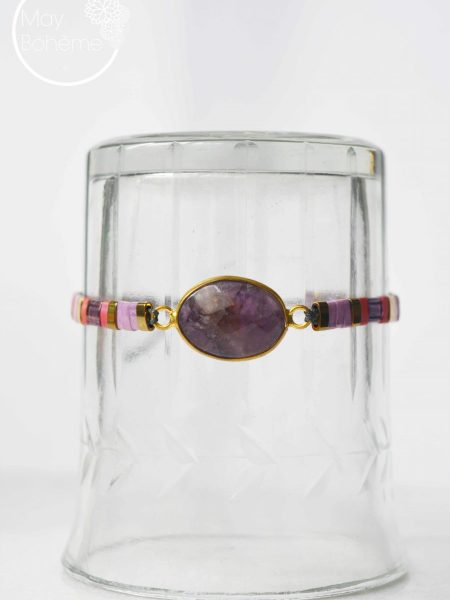 "Bracelet Sally  ""BOHEMIAN MOOD"" - Bracelet réglable perles Tila pierre fine"