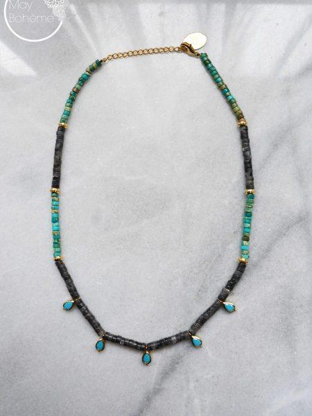 """Collier Melle Kashmir Chéri """"INDIAN MOOD"""" - Collier Heishi pierre fine, pendentif petites gouttes serties plaqué or"""