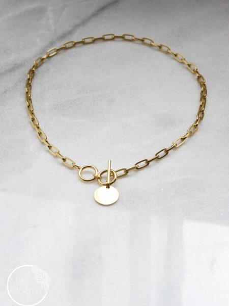"""Collier EVA """"BOHEMIAN MOOD"""" - Collier Chaîne mailles rectangulaire Médaille acier inoxydable doré"""