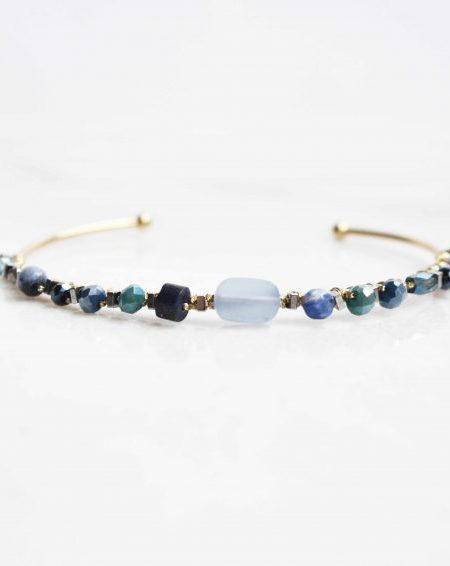 "Jonc Solé ""BOHEMIAN MOOD"" - Jonc ouvert ajustable perles tissées acier inoxydable"